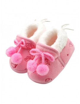 0-18 Months Newborn Toddler Baby Bowknot Soft Sole Crib Shoes Winter Warm Faux Fur Prewalker