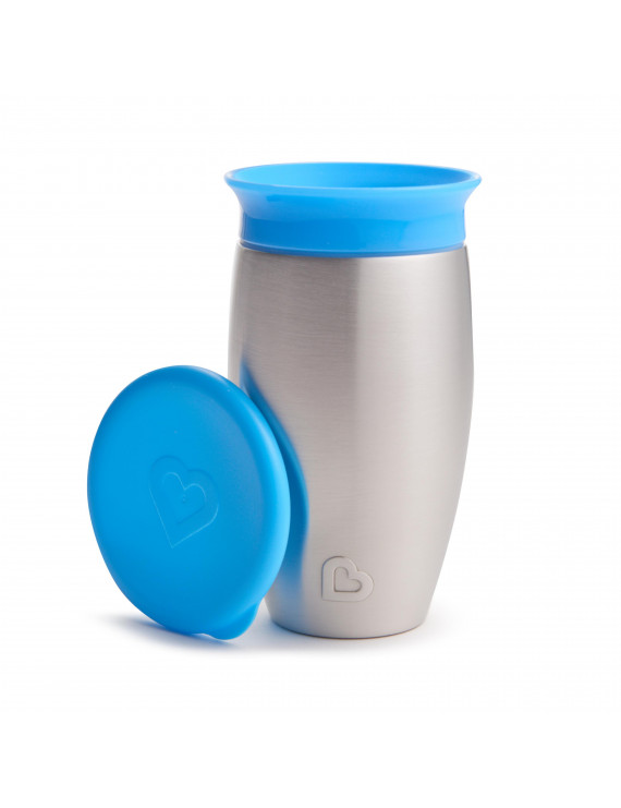 Munchkin Miracle 360 Spoutless Stainless Steel Sippy Cup, 10oz, Blue