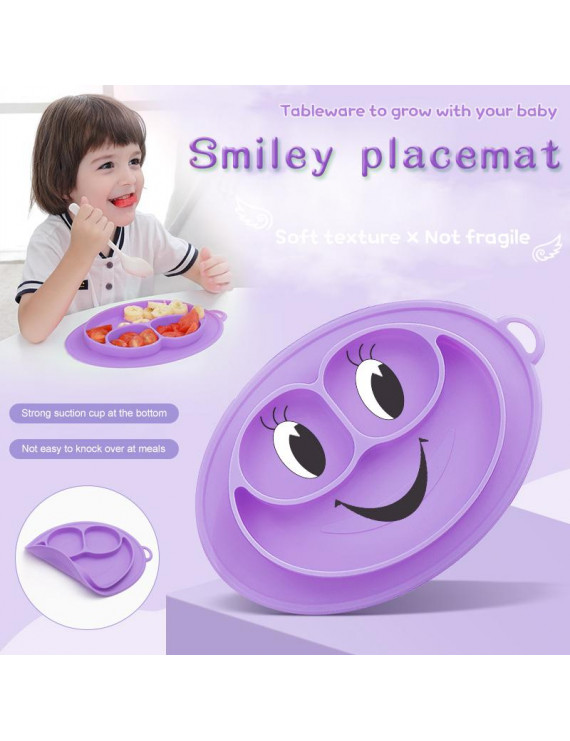 Amerteer Silicone Suction Toddler Plates DIY Complementary Food Placemat Suction Cup for Baby Children, Children DIY Plates,Divided Toddler Plates-First Foods + Self-Feeding