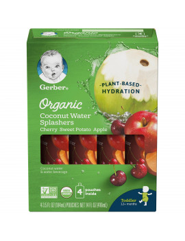 (Pack of 16) Gerber Organic Coconut Water Splashers Cherry Sweet Potato Apple 3.5 oz Pouch