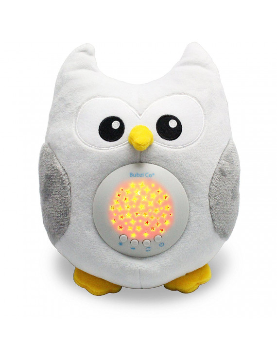 Bubzi Co Baby Soother White Noise Sound Machine & Sleep Aid Night Light. New Baby Gift, Woodland Owl Decor Nursery & Portable Soother Stuffed Animals Owl For Crib to Comfort Plush Toy