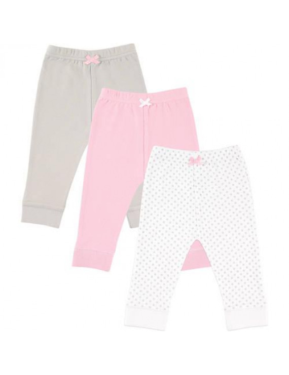 Luvable Friends Baby Girl Tapered Ankle Pants, 3-pack
