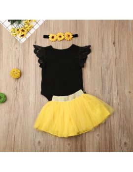 Baby Girl 1st Birthday Outfit Party Dresses Sunflower Romper Cake Smash Tutu Skirt Sundress Clothes