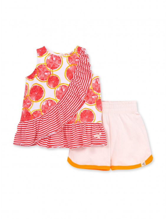 Burt's Bees Baby Girl Organic Watercolor Grapefruit Tank Top & Shorts, 2pc Outfit Set