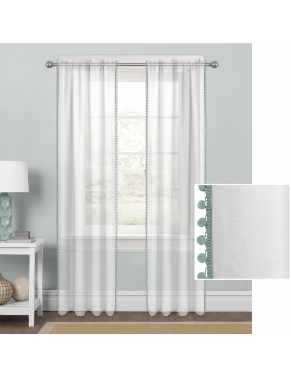 Mainstays Sheer with Pom-Poms Single Window Curtain Panel