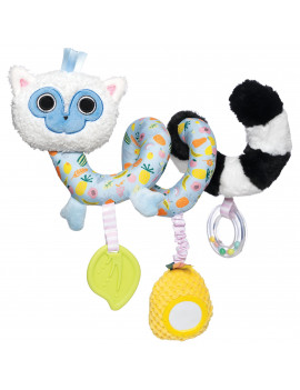 Manhattan Toy Lemur Baby Travel Spiral with Baby-safe Mirror, Elastic Pull Cord, Textured Teether and Ring Rattle
