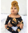 Multitrust 3PCS Newborn Baby Girl Off Shoulder Flower Romper+Leg Warmers