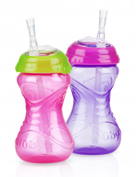 Nuby 10oz Clik-It Cup with Flexi-Straw 2 Pack, Girl Assortment