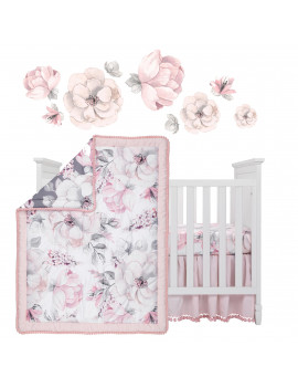 Lambs & Ivy Signature Botanical Baby Watercolor Floral 4-Piece Crib Bedding Set