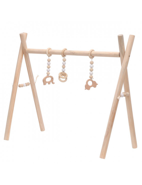 Wooden Baby Gym with 3 Gym Toys Baby Foldable Play Gym Frame Activity Center Hanging Bar Newborn Gift