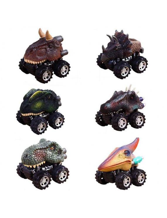 Tuscom 6PC Children's Day Gift Toy Dinosaur Model Mini Toy Car Back Of The Car Gift