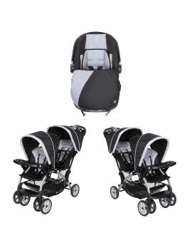 Baby Trend Infant Car Seat & Base w/ 2 Seat Double Stroller (2 Pack)