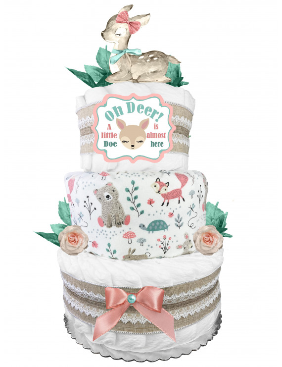 Doe 3-Tier Diaper Cake - Oh Deer - Baby Shower Gift for a Girl - Mint Blush and Burlap Lace