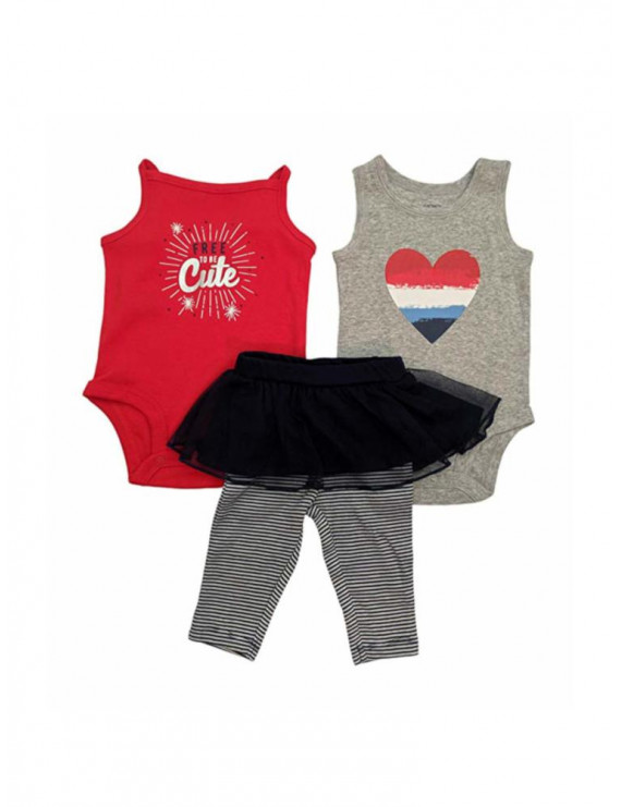 The William Carter Company Baby Girls 9 Months 3-Piece Bodysuits & Pants Patriotic Set, Blue/Red