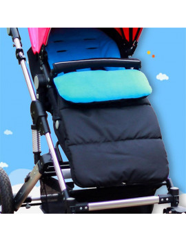 (Blue) Winter general solid color foot cover baby stroller sleeping bag umbrella car windproof warm foot cover cotton cushion thickened section to prevent cold