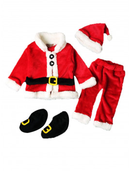 4 Pcs Girls Boys Santa Claus Costume Kids Baby Suit Christmas Party Outfit Fancy Xmas Dress