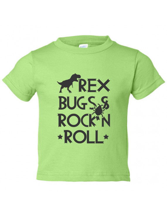 "Kids Funny Rex Youth ""Rex Bugs & Rock N Roll"" Toddler Rock N Roll Shirt 3T Toddler, Green"