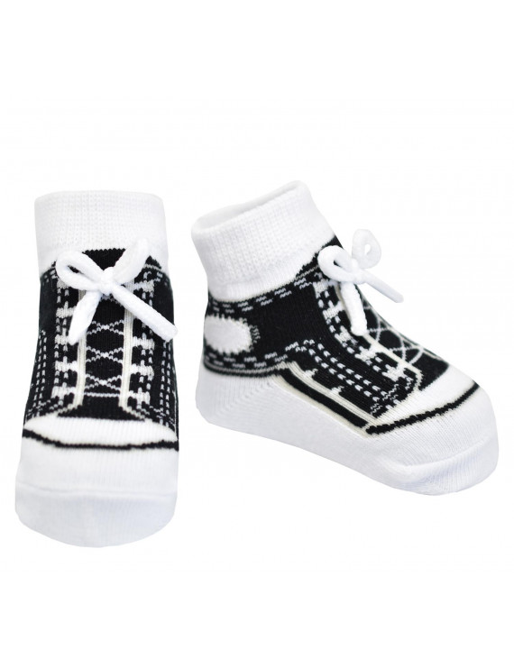 Baby Emporio-Baby boy or girl socks that look like sneakers-1 pr-cotton-shoelaces-0-12 Months - SNEAKERS BLACK