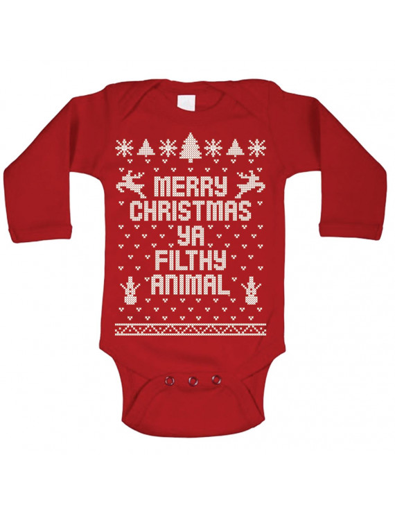 Baby Merry Christmas Ya Filthy Animal Xmas 12 Months Red Long Sleeve Baby One Piece