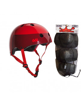 661 Dirt Lid Skateboard BMX Youth Helmet Red S/M Knee Elbow Wrist Pads
