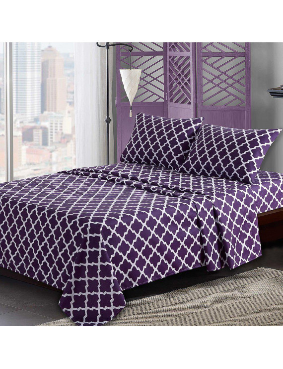 Egyptian Luxury Quatrefoil Pattern Bed King Sheets Set 1800 Bedding - Wrinkle, Fade, Stain Resistant - Hypoallergenic - 4 Piece Sheets (King, Purple/White)