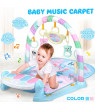 Baby Kids Play Mat Explore Activity Musical Gym, Kick and Play Newborn Mat with Detachable Piano, Foot Gym Carpet Piano Fitness Rack, 5 Pendants , Ideal for Baby Room (Pink/Blue)
