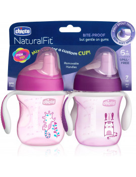Chicco Semi-soft Spout Trainer Sippy Cup 7oz 6m+ (2pk), Pink/Purple