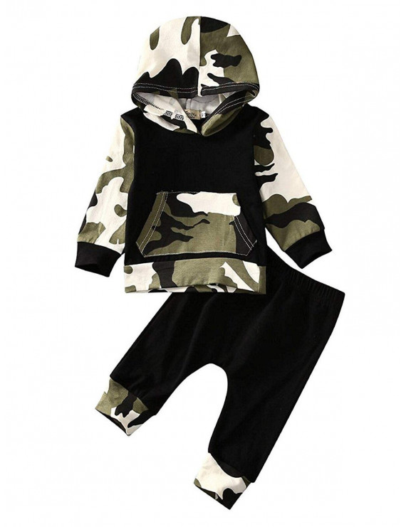 Camouflage Newborn Baby Boys Toddler Hooded Tops +Long Pants 2Pcs Outfits Set Clothes