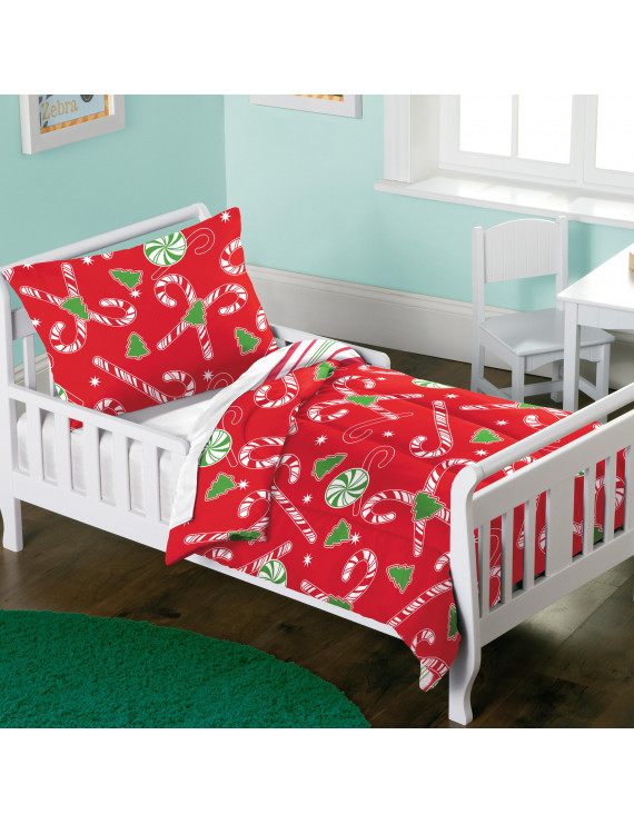 Dream Factory Candy Cane Toddler Comforter and Sham Set,