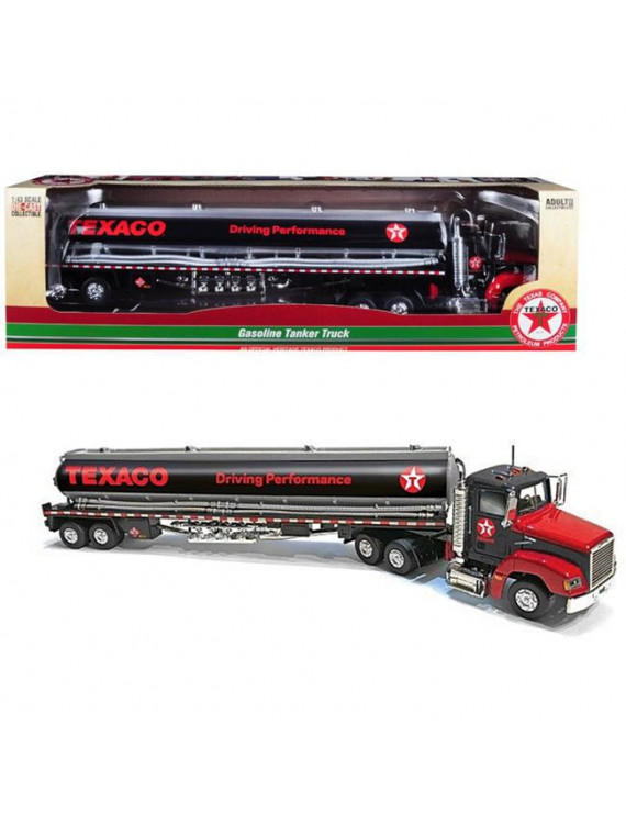 Autoworld CP7595 Texaco Gasoline Tanker Truck with Driving Performance 1 by 43 Diecast Model, Black