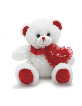 "10"" Valentine's Day Plush ""Te Amo"" White Bear with Red Heart"