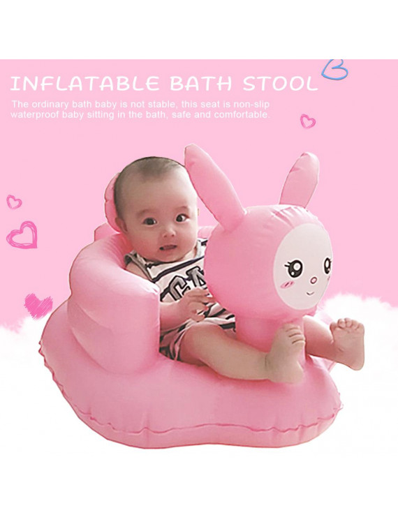 Pink Rabbit Baby Inflatable Sofa Seat Baby Learning Sitting Dining Chair Portable Multifunctional Bath Stool PVC Toy