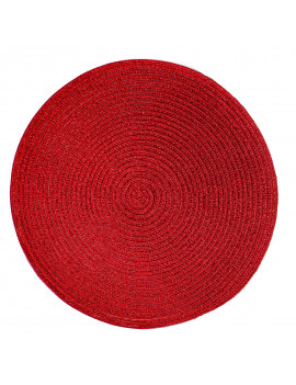 Christmas Carol Woven Spiral Table Placemats 15 Inches Round Set of 4 Non-Slip Dining & Kitchen Table Mats Red