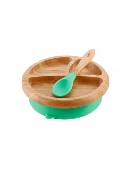 Avanchy Bamboo Stay Put Suction Baby Plate + Spoon Green