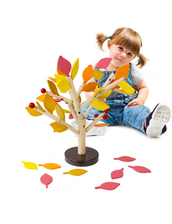 Mosunx Kids Baby Wooden Stitching Creativity Leaf Tree Learning Educational Toy