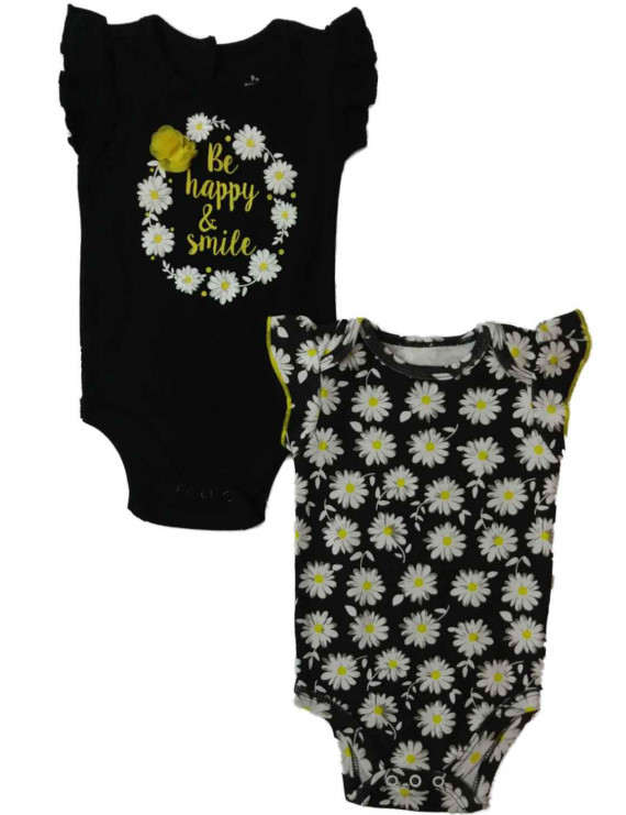Infant Girls Be Happy Smile Daisy Flower Single Bodysuit 2-PC Outfit