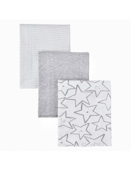 Little Star Organic 100% Pure Organic Cotton Burp Cloth, 3 Pk, Gray-Little Dreamer