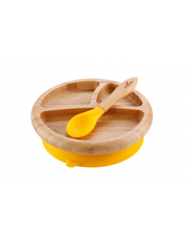 Avanchy Bamboo Stay Put Suction Baby Plate + Spoon Yellow
