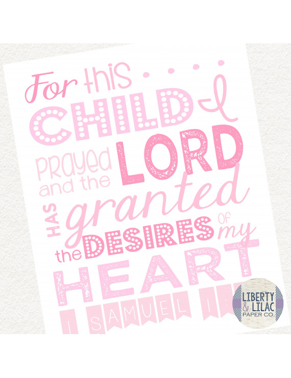 Baby Girl Nursery Art For This Child I Prayed Christian Art Bible Verse Pink and White Baby Shower Gift Christening Gift Baptism Gift 24x36