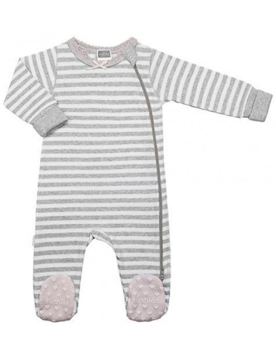 Kushies Baby Girls Classics Side Zip Sleeper, Grey Stripe, Newborn