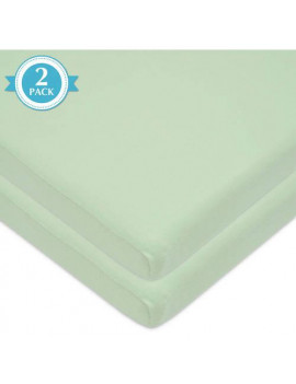 American Baby Co. Cotton Jersey Knit Fitted Cradle Sheet, Celery 2pk