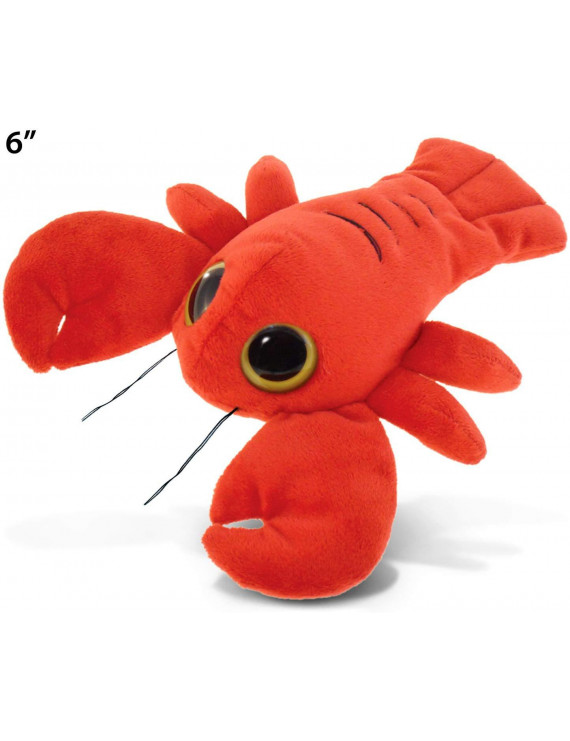 Puzzled Red Lobster Cute Plush Toy Big Eyes Stuffed Animal Baby Plush Toys Soft Small Plushie Ocean Sea Life Creature Decor Stuffed Animals For Babies Girls Boys Toddlers - 6 Inch Long