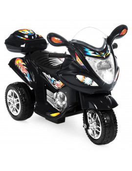 Best Choice Products 6V Kids Battery Powered 3-Wheel Motorcycle Ride On Toy w/ LED Lights, Music, Horn, Storage - Black