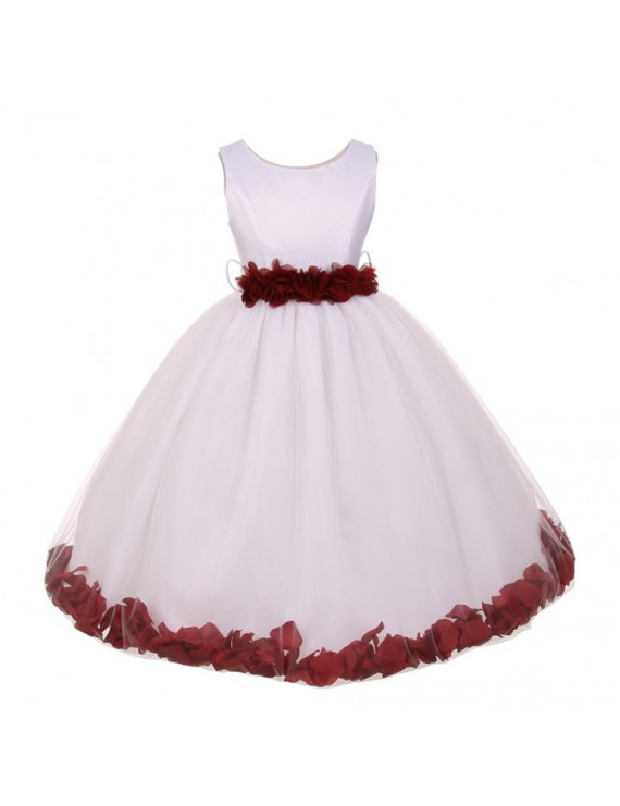 Little Girls White Burgundy Floral Petals Embellished Flower Girl Dress 2T-6