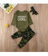 Wsevypo Newborn Baby Boys Girls Clothes Mommys Boy Girl Print Romper Bodysuit Tops Camouflage Pants 3Pcs Outfits