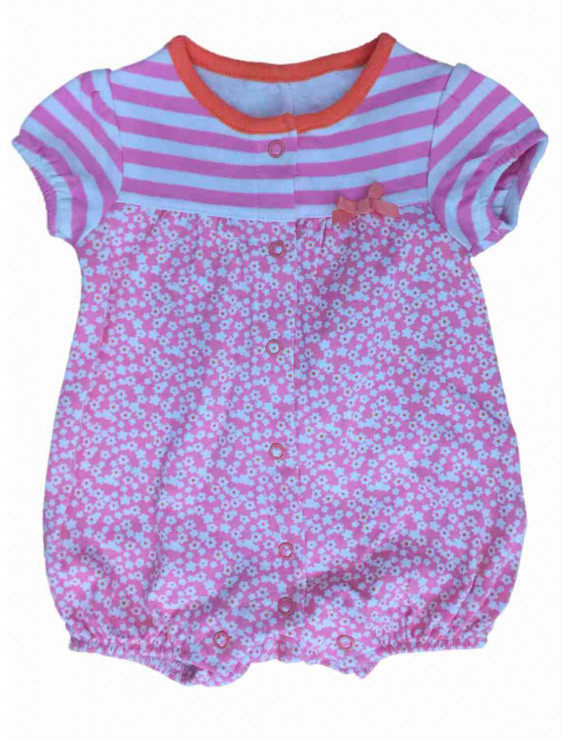 Infant Girls Pink Flowers & Stripes Romper Baby Bodysuit Outfit Newborn