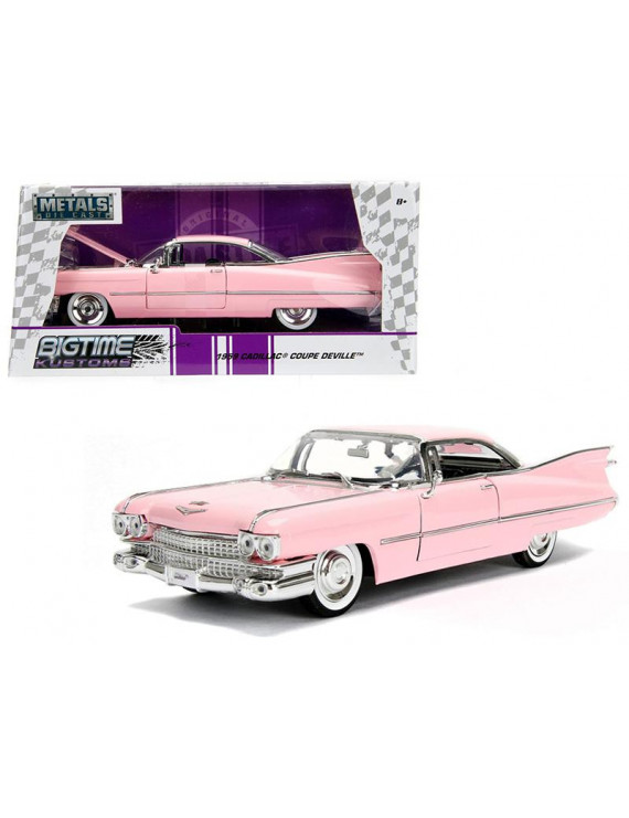 1959 Cadillac Coupe DeVille Pink 1/24 Diecast Model Car by Jada