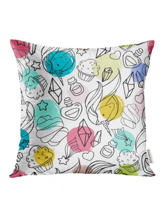 CMFUN Blue Unicorn with Magic Green Animal Candy Caramel Cartoon Childhood Circle Color Pillow Case Pillow Cover 20x20 inch Throw Pillow Covers