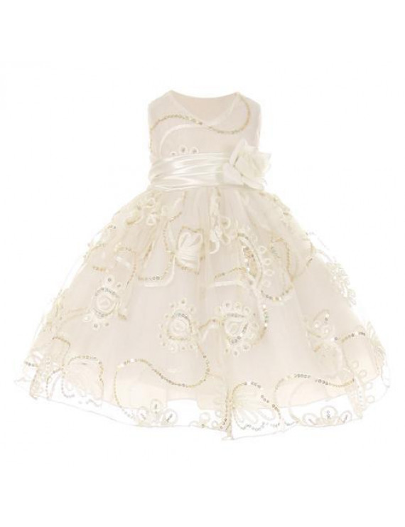 Baby Girls Ivory Tulle Embroidery Sequins Flower Girl Dress 12M