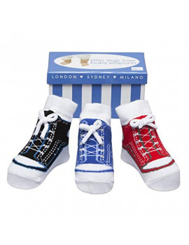 Baby Emporio-Baby Boy Socks that look like shoes- 0-9 Months - Anti slip-Soft Cotton-3 Pairs - Baby Shower Gift - Gift Box -BOY SNEAKERS